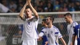 Bosnia and Herzegovina player Milan Djuric (L) celebrates after scoring the 3-2 lead during the UEFA EURO 2016 Group B qualifying round match between Cyprus and Bosnia and Herzegovina held at GSP Stadium, Nicosia, Cyprus, 13 October 2015.  EPA/KATIA CHRISTODOULOU
