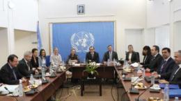 Παραγωγική η συνάντηση, υπάρχει πολύς δρόμος να διανυθεί ακόμα, είπε ο  πρόεδρος της Κύπρου Νίκος Αναστασιάδης, μετά την συνάντησή του με τον Μουσταφά Ακιντζί. Φωτογραφία ΚΥΠΕ