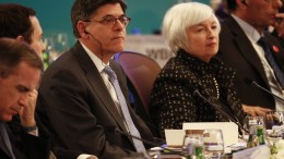 FILE PHOTO: US Treasury Secretary Jack Lew (L) and US Federal Reserve Board Chair Janet Yellen (R) attend the G20 Finance Ministers and Central Bank Governors Meeting at the Pudong Shangri-la Hotel in Shanghai, China.  EPA, ROLEX DELA PENA, POOL