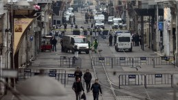 FILE PICTURE. Crime scene officers search the area after an explosion in Istanbul, Turkey. EPA/STR