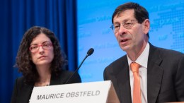 FILE PHOTO: Maurice Obstfeld (right), IMF Economic Counsellor and Director of the Research Department, along with Oya Celasun, give remarks to the media during the World Economic Outlook press conference during the 2016 IMF Spring Meetings on Tuesday, April 12 in Washington, D.C. Ryan Rayburn, IMF Photo