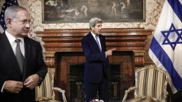 File Photo: United States Secretary of State John Kerry (C) with Prime Minister of Israel Benjamin Netanyahu (L) during their meeting at Villa Taverna in Rome, Italy, 27 June 2016. EPA, GIUSEPPE LAMI