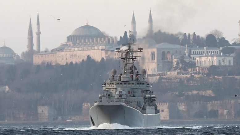 FILE PHOTO: The Russian warship 'Caesar Kunikov', a large landing ship of the Project 775 class (NATO name: Ropucha-I), passes the Bosphorus Strait in Istanbul, Turkey. Seen in background are the Blue Mosque (L) and the Hagia Sophia museum (C). EPA, SEDAT SUNA