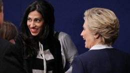 FILE PHOTO: Hillary Clinton campaign vice chair Huma Abedin (L) and Democrat Hillary Clinton (R) at the end of the second Presidential Debate at Washington University in St. Louis, Missouri, USA, 09 October 2016. EPA, GARY HE