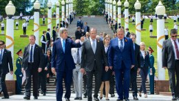 FILE PHOTO: U.S. Secretary of State John Kerry and Russian Foreign Minister Sergey Lavrov leave the Zavokzalny War Memorial in Sochi, Russia, built in 1985 to commemorate the 40th anniversary of the end of World War II, and where about 4,000 soldiers are buried, after laying a set of wreaths and paying their respects. [State Department Photo/Public Domain]