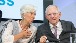 FILE PHOTO: International Monetary Fund Managing Director Christine Lagarde (L) and German Finance Minister Wolfgang Schauble at the IMF, World Bank Annual Meetings in Washington, DC. IMF Staff Photo, Stephen Jaffe