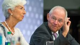 Η Διευθύντρια του Διεθνούς Νομισματικού Ταμείου, Κριστίν Λαγκάρντ, και ο Γερμανός Υπουργός Οικονομικών, Βόλφγκανγκ Σόιμπλε. Φωτογραφία Dimitris Manis, Mignatiou.com