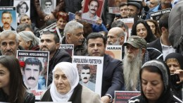 File PHOTO: Selahattin Demirtas (2ND ROW, C), co-chairman of the the People's Democratic Party (HDP) of Turkey visits the so called 'Saturday Mothers' gathering during their weekly protest action at Galatasaray square in Istanbul, Turkey. Mothers, wives and relatives holding pictures of their relatives and demand clarification for the disappearence of their relatives, who are belived to be arrested, torturted or killed. Turkish police denies these accusations. EPA, CEM TURKEL