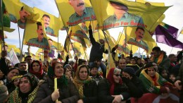 File Photo: Kurds and Alevi hold flags featuring PKK leader Abdullah Ocalan protest against the Turkish President Recep Tayyip Erdogan, inCologne, Germany, 12 November 2016. Around 10,000 Alevi and Kurds gathered for a demonstration against the policies of Turkish President Erdogan. EPA, OLIVERBERG
