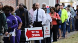 People wait in line outside of a polling location to in Mobile, Alabama,USA on 08 November 2016.. EPA/DAN ANDERSON