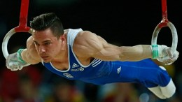 Greek gymnast Eleftherios Petrounias performs in the rings competition during the men's apparatus final at the European Artistic Gymnastic Championships in Montpellier, France, 18 April 2015.  EPA/IAN LANGSDON