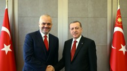 A handout picture provided by Turkish President Press office shows Albanian Prime Minister Edi Rama (L) shake hands with Turkish President Recep Tayyip Erdogan (R). EPA, TURKISH PRESIDENT PRESS OFFICE