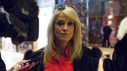 Trump campaign manager Kellyanne Conway speaks with members of the press in the lobby of Trump Tower in New York, NY, USA, 04 December 2016. EPA, ALBIN LOHR-JONES / POOL