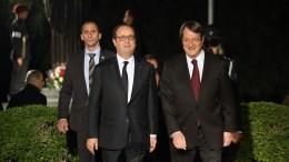 Ο Πρόεδρος της Κυπριακής Δημοκρατίας κ. Νίκος Αναστασιάδης υποδέχθηκε τον Πρόεδρο της Γαλλίας Φρανσουά Ολάντ στο Προεδρικό Μέγαρο, Λευκωσία 9 Δεκεμβρίου 2016. ΚΥΠΕ, ΚΑΤΙΑ ΧΡΙΣΤΟΔΟΥΛΟΥ
