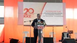 Ο γ.γ.του ΚΚΕ, Δημήτρης Κουτσούμπας, σε ομιλία σε ανοιχτή πολιτική συγκέντρωση στη Λάρισα. ΑΠΕ-ΜΠΕ, STR
