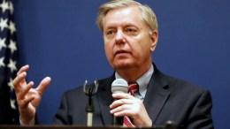 US Senator Lindsey Graham speaks during a press conference. EPA/STR