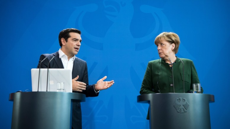 File PHOTO: German Chancellor Angela Merkel (R) and the Greek Prime Minister Alexis Tsipras (L) speak at a press conference at the Federal Chancellery in Berlin, Germany, 16 December 2016. EPA, BERND VON JUTRCZENKA