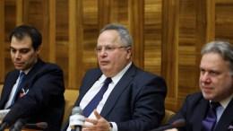 Ο Υπουργός Εξωτερικών της Ελλάδας κ. Νίκος Κοτζιάς, στην έδρα του ΟΗΕ, στη Γενεύη, στο περιθώριο της Διάσκεψης για την Κύπρο, μαζί μα ρους κ. Κατρούγκαλο και Ευθυμίου. Πέμπτη 12 Ιανουαρίου 2017. ΚΥΠΕ, ΚΑΤΙΑ ΧΡΙΣΤΟΔΟΥΛΟΥ