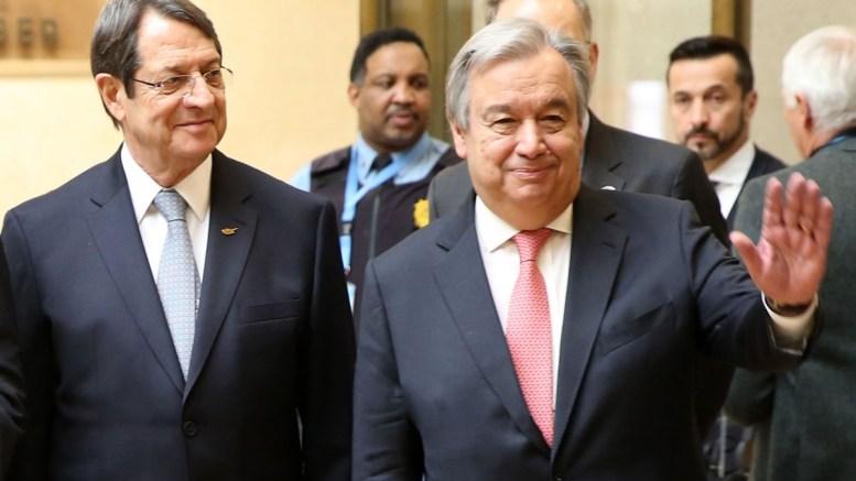 File Photo: Ο Γενικός Γραμματέας του ΟΗΕ Αντόνιο Γκουτέρες με τον Πρόεδρο της Δημοκρατίας κ. Νίκο Αναστασιάδη στη Γενεύη της Ελβετίας. ΚΥΠΕ, ΚΑΤΙΑ ΧΡΙΣΤΟΔΟΥΛΟΥ