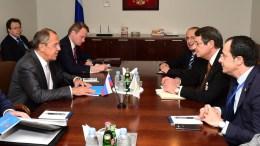 Ο Πρόεδρος της Δημοκρατίας Νίκος Αναστασιάδης, με το Ρώσο Υπουργό Εξωτερικών Σεργκέι Λαβρόφ, τον Ιωάννη Κασουλίδη και τον Νίκο Χριστοδουλίδη. Φωτογραφία Αρχείου, ΔΗΜΗΤΡΗΣ ΠΑΝΑΓΟΣ