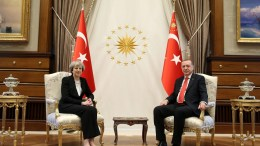 File Photo: A handout photo made available by Turkish President Press office shows British Prime Minister Theresa May (L) meeting with Turkish President Recep Tayyip Erdogan (R) during their meeting in Ankara, Turkey, 28 January 2017. EPA, TURKISH PRESIDENT PRESS OFFICE HANDOUT EDITORIAL USE ONLY