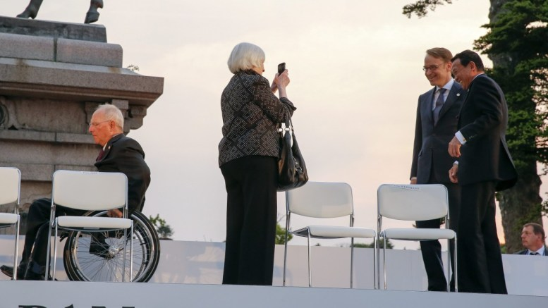 File Photo: US Board of Federal Reserve System Chair Janet Yellen (2-L)takes a photo of Japanese Finance Minister Taro Aso (R) and President of Deutsche Bundesbank Jens Weidmann as German Federal Minister of Financee Wolfgang Schauble leaves a photo session of the G7 Finance Minister and Central Bank Governors meeting at Sendai Castle site in Sendai, Miyagi Prefecture, northern Japan. EPA, KIMIMASA MAYAMA