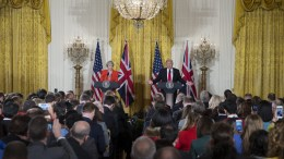 US President Donald J. Trump and British Prime Minister Theresa May participate in a joint press conference in the East Room of the White House in Washington, DC, USA, 27 January 2017. Prime Minister May is the first foreign head of state to meet with President Trump at the White House. EPA, SHAWN THEW