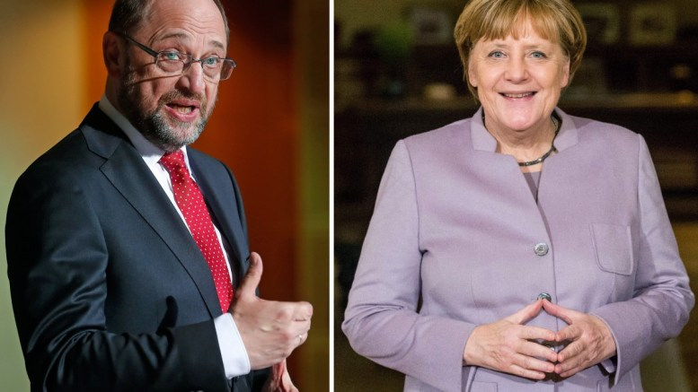 A twofold combo picture shows former president of the European Parliament, Martin Schulz (L) in the Social Democrats of Germany (SPD) and German Chancellor Angela Merkel (R) of the Christian Democratic Union (CDU). Schulz and Merkel run for Chancellor in the German federal elections that will take place on 24 September 2017. EPA/FELIPE TRUEBA / STEPHANIE LECOCQ