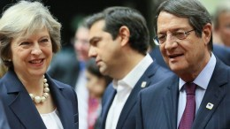 FILE PHOTO. British Prime Minister Theresa May, Greek Prime Minister Alexis Tsipras and Cyprus President Nicos Anastasiades attend the European Summit in Brussels, Belgium. EPA, OLIVIER HOSLET