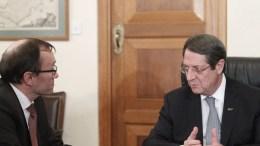 Ο Πρόεδρος της Δημοκρατίας Νίκος Αναστασιάδης δέχθηκε τον Ειδικό Σύμβουλο του Γ.Γ. του ΟΗΕ για την Κύπρο Espen Barth Eide. Φωτογραφία ΧΡ. ΑΒΡΑΑΜΙΔΗΣ