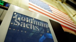 A file photo showing a sign at the Goldman Sachs both on the floor of the New York Stock Exchange after the Opening Bell in New York, New York, USA. EPA/JUSTIN LANE