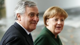 The President of the European Parliament, Antonio Tajani (L), is greeted by German Chancellor Angela Merkel, in the Chancellery, Berlin, Germany, 24 February 2017. Tajani is on a two day official visit to Germany. EPA, FELIPE TRUEBA