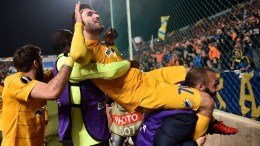 APOEL's Nicosia's player Yannis Gianniotas celebrates a goal during the UEFA Europa League round of 32 match between APOEL and Athletic Bilbao at GSP Stadium in Nicosia, Cyprus, 23 February 2017.  EPA/STR