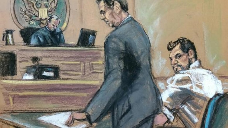 Mehmet Hakan Atilla, a deputy general manager of Halkbank, is shown in this court room sketch as he appears in Manhattan federal court in New York. Photo via the Court