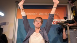 Annegret Kramp-Karrenbauer, Minister President of the state of Saarland and Christian Democratic Union (CDU) top candidate for the state election, cheers on at an election party of CDU in Saarbruecken, Germany, 26 March 2017. German federal state Saarland is holding regional elections. According to an ARD prognosis, the CDU had a clear win with 40,8 per cent, SPD is second with 29,5 per cent. EPA, THORSTEN WAGNER
