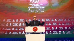 Turkish President Recep Tayyip Erdogan speaking to supporters during the International Benevolence Awards ceremony in Istanbul, Turkey, 12 March 2017. EPA, TURKISH PRESIDENT PRESS OFFICE HANDOUT EDITORIAL USE ONLY
