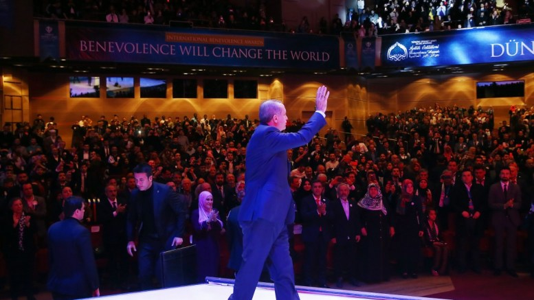 Turkish President Recep Tayyip Erdogan waving to supporters during the International Benevolence Awards ceremony in Istanbul, Turkey, 12 March 2017. EPA, TURKISH PRESIDENT PRESS OFFICE HANDOUT EDITORIAL USE ONLY