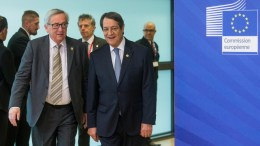 File Photo: Nicos Anastasiades, President of Cyprus (R) is welcomed by the EU commission President Jean-Claude Juncker (L) ahead of a meeting at EU Commission in Brussels, Belgium. EPA, STEPHANIE LECOCQ
