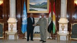 File Photo: Masoud Barzani (R) President of the Iraqi Kurdistan Region welcomes Antonio Guterres (L) the new United Nations Secretary-General in Erbil, the capital of the Kurdistan region of northern Iraq, 30 March 2017. EPA, GAILAN HAJI