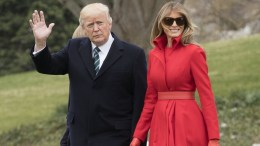 US President Donald J. Trump (L) and First Lady Melania Trump (R) walk across the South Lawn to depart the White House by Marine One, in Washington, DC, USA, 17 March 2017. EPA, MICHAEL REYNOLDS