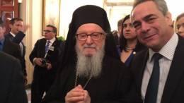 Ο Αρχιεπίσκοπος Δημήτριος με τον κ. Καμμένο. Φωτογραφία via facebook