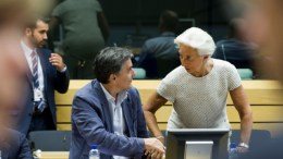From left to right: Mr Euclid TSAKALOTOS, Greek Minister for Finance; Ms Christine LAGARDE, Managing Director of the IMF. Copyright: 'The European Union'