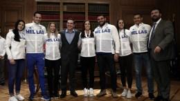 Ο πρωθυπουργός Αλέξης Τσίπρας (4Α) φωτογραφίζεται με τους πρωταθλητές του 34ου Ευρωπαϊκού Πρωταθλήματος στο Μέγαρο Μαξίμου, Αθήνα, Τρίτη 07 Μαρτίου 2017. ΑΠΕ-ΜΠΕ/ΣΥΜΕΛΑ ΠΑΝΤΖΑΡΤΖΗ