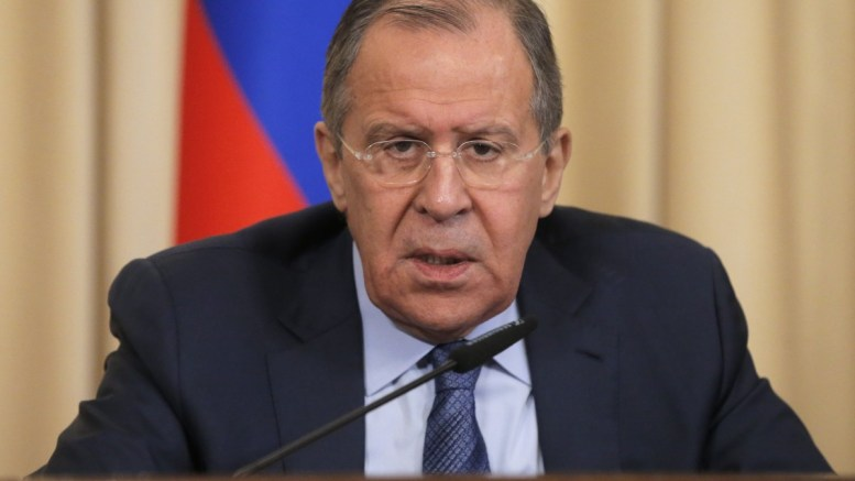 Russian Foreign Minister Sergei Lavrov speaks in Moscow, Russia. EPA, MAXIM SHIPENKOV