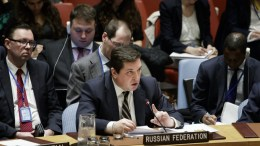 Vladimir Safronkov (C), Russia's Deputy Ambassador to the United Nations, addresses an emergency meeting of the United Nations Security Council about a chemical attack in Syria at United Nations headquarters in New York, New York, USA, 05 April 2017. EPA, JUSTIN LANE