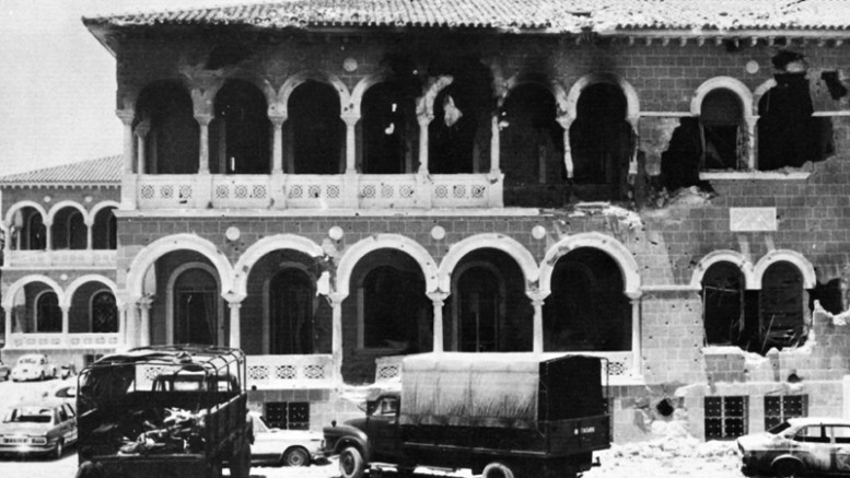 A handout photograph dated 15 July 1974 and made available by the Greek Cypriot Press and Information Office, showing the Archbishopric building during the coup in Cyprus. The year 2014 marks the 40th anniversary of the Turkish invasion of Cyprus in 1974. Cyprus has been split since July 1974, when Turkish troops invaded the northern third of the island in response to a Greek-inspired coup aimed at uniting the island with Greece. The July invasion resulted in some three per cent of the Island being captured by Turkish forces before a ceasefire was announced, while some 40 per cent of the Island was occupied in the second Turkish invasion in August 1974. The Turkish-occupied north is only recognized as a separate entity by Turkey.  EPA/CYPRIOT PRESS OFFICE / HANDOUT   BLACK AND WHITE ONLY HANDOUT EDITORIAL USE ONLY/NO SALES