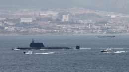 epa05447464 British Royal Navy's nuclear-powered submarine HMS Ambush leaves Gibraltar port headed for Britain, Gibraltar, 29 July 2016. The ship has remained in Gibraltar since 20 July after crashing against a merchant ship off the Gibraltar coast. EPA/CARRASCO RAGEL