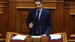 Ο πρόεδρος της ΝΔ Κυριάκος Μητσοτάκης μιλάει στη Βουλή. ΑΠΕ-ΜΠΕ/ΑΛΕΞΑΝΔΡΟΣ ΒΛΑΧΟΣ