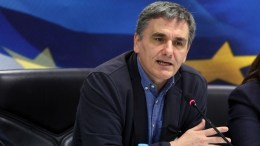 Greece Finance minister Eucleidis Tsakalotos gives an interview. EPA, ALEXANDROS BELTES