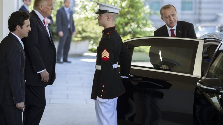 File Photo: US President Donald J. Trump (2-L) walks President of Turkey Recep Tayyip Erdogan (R) to his car after a day of meetings at the White House in Washington, DC, USA, 16 May 2017. EPA, SHAWN THEW